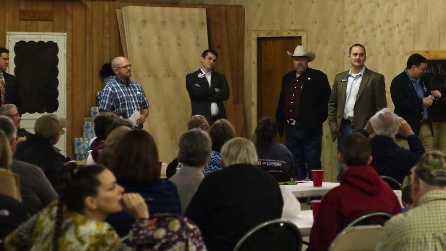 Five candidates for the Texas House District 18 seat attended the Hardin VFD candidate forum Tuesday night, Feb. 9. Just in the frame at left is Liberty County Attorney Wes Hinch. At center is Keith Strahan, and to the right are Van Brookshire, Ernest Bailes and James Morrison. Photo: Casey Stinnett