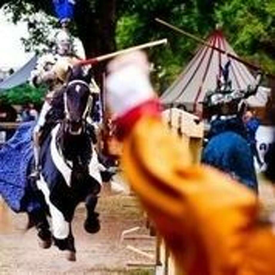 Two knights square off during Joust Fest. The two-day tournament featured five rounds of jousting between competitors from around the world. Photo: Submitted