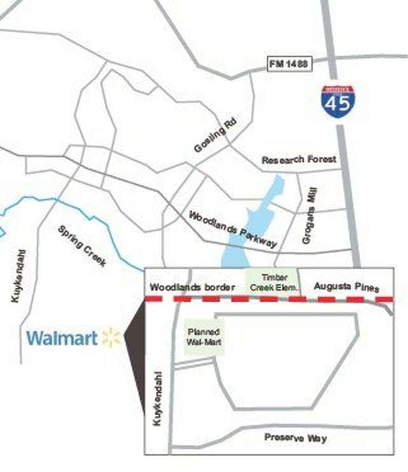 The Woodlands Township Board of Directors today will consider the impact of the proposed Augusta Woods Village development, including a Wal-Mart Supercenter, on Woodlands residents. The planned development is in Harris County, adjacent to the southern border of The Woodlands.