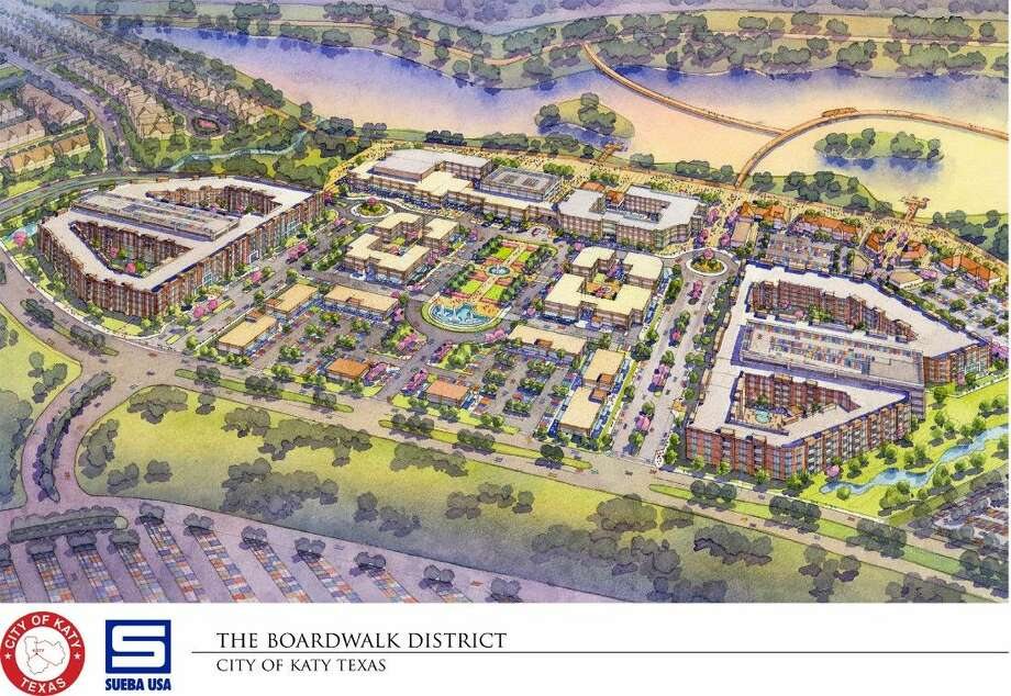 The Katy Boardwalk District project has been delayed several months due to the discovery that loft and plaza space were offered no view of the park. City and Sueba officials have begun the process of redesigning its $150 million endeavor.