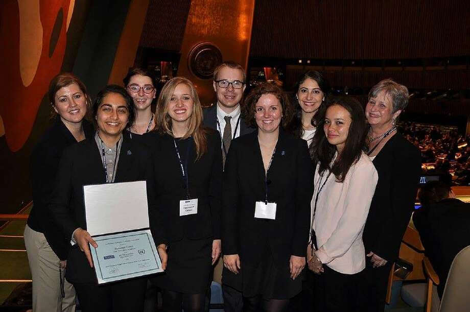 LSC-Kingwood delegates proudly display their Outstanding Delegation Award that they earned at the National Model United Nations Conference in New York.