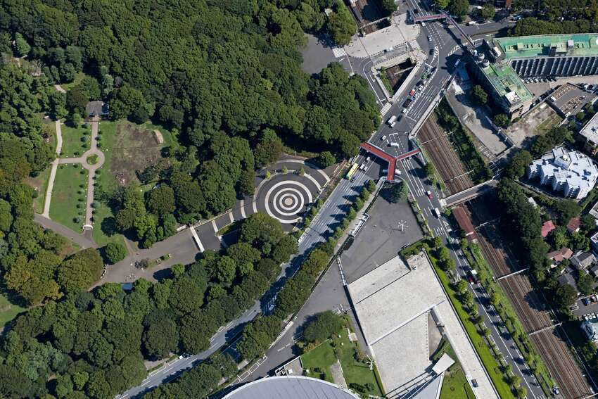 Japan, Kanto Region, Tokyo Prefecture, Aerial view of Yoyogi Park. (Photo by: JTB Photo/UIG via Getty Images)