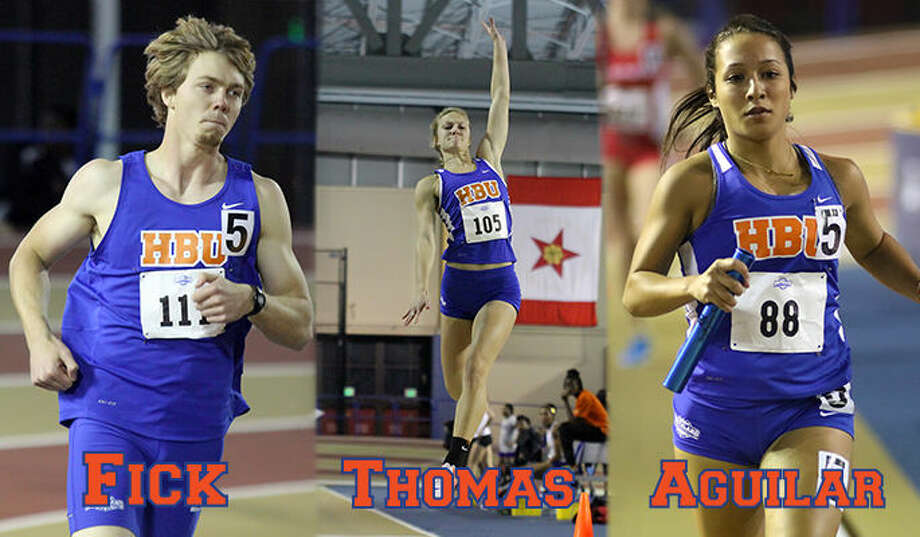 Houston Baptist University track and field athletes Garrison Fick, Taylor Thomas and Stephanie Aguilar were named Academic All-Southland Conference for 2015. Photo: HBU Athletic Media Relations