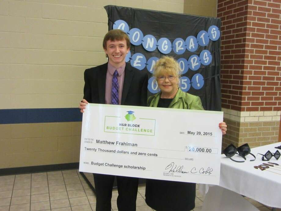 Matthew Frahlman was presented a check at a recent ceremony by Linda Mather H & R Block Office Manager-Houston 2 District Office in Webster.