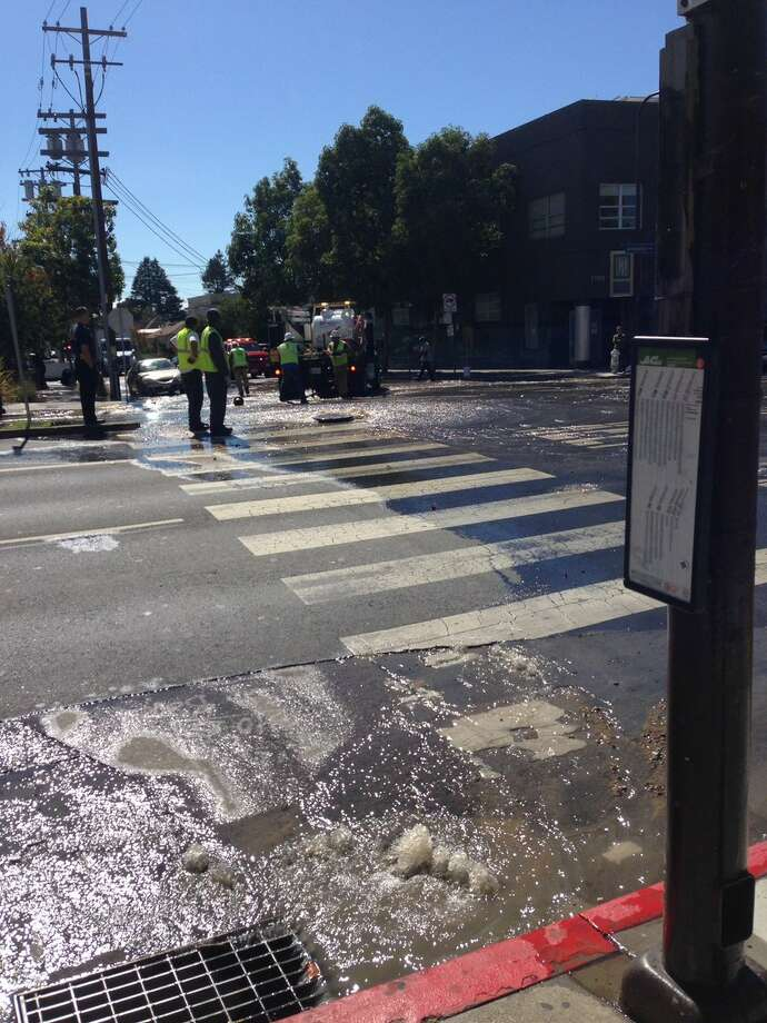 A broken water main in downtown Berkeley left more than 50 homes and businesses without water, officials said. Photo: Eduardo Navarro