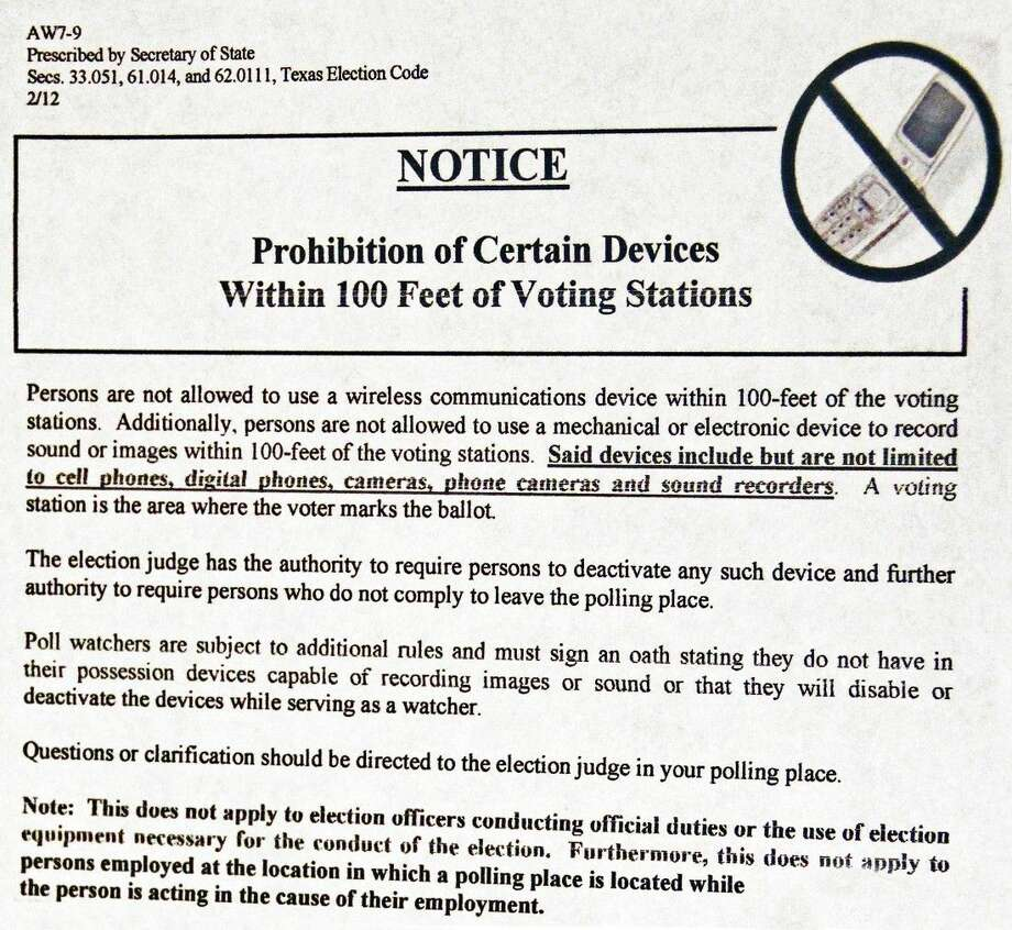 A complaint has been filed with the Texas Secretary of State against a Pasadena ISD election judge. Among other things, the complaint alleges the judge used her cell phone to make numerous personal calls from the voting stations area on Election Day. Photo: Kristi Nix