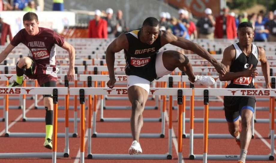 Marshall's Kendall Sheffield won the 110- and 300-meter hurdles during the UIL State Track & Field Championships, May 9 at Mike Myers Stadium in Austin. Photo: Alan Warren