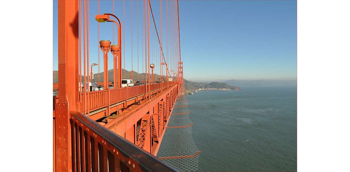 File photo illustration of proposed steel mess suicide barrier for the Golden Gate Bridge. The bids have come in millions of dollars over the bridge district's estimate, raising doubts about the future of the project.