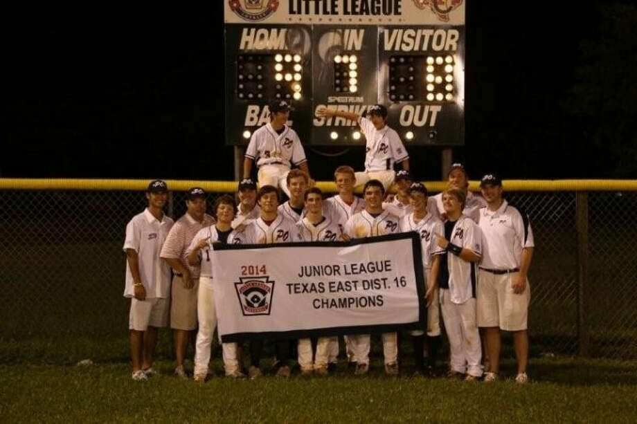 The Post Oak Little League Juniors (14s) recently won their District 16 championship and proudly show off their banner after claiming the championship with a thrilling 9-8 triumph over West Universityto put them in the Section 3 tournament this week.