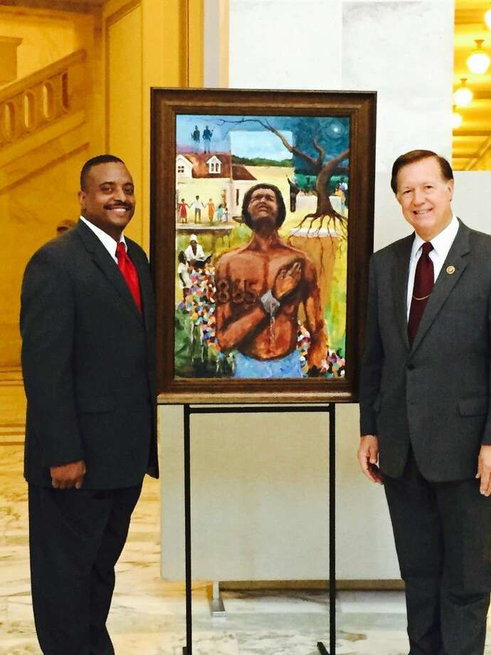Congressman Randy Weber (R-Friendswood) met with local artist Ted Ellis from Friendswood at the Senate Russell Rotunda. Mr. Ellis is featuring his art commemorating the 150th Anniversary of Juneteenth.