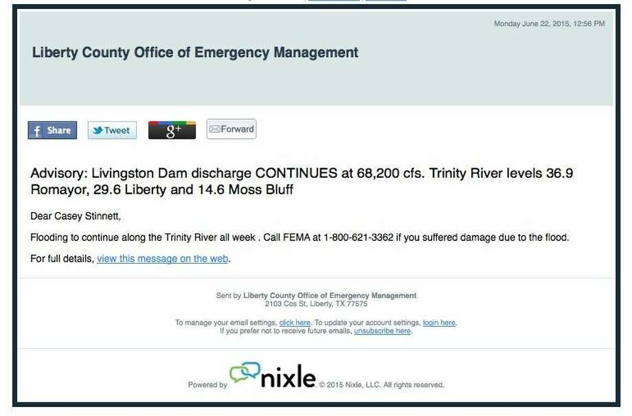 E-mail and text alerts from the Liberty County Office of Emergency Management are available through Nixle. For text alerts, register by texting your zip code to 888777. To register for e-mailed alerts, or for both e-mail and text alerts, go to https://local.nixle.com/register/.