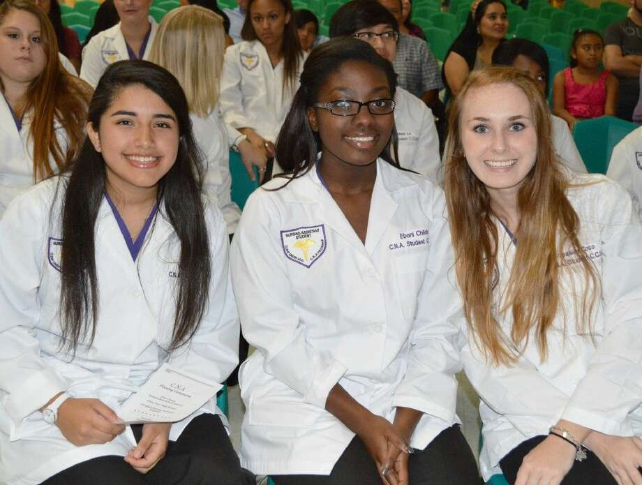 Pictured, left to right, are CCISD high school students Vanesa Chicas, Eboni Childs, and Jessica Coco are all smiles after completing the Certified Nursing Assistant Program.
