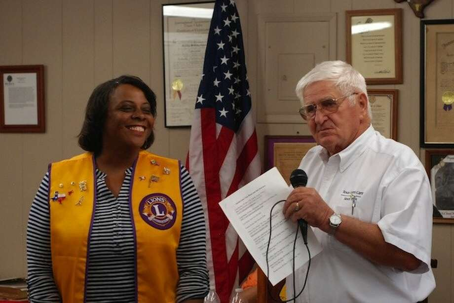 Bonita Davis was named the new Hardin Lions Club president Tuesday evening, July 8. The installation of new officers was made by Past District Governor Harry Goetzman. Photo: CASEY STINNETT