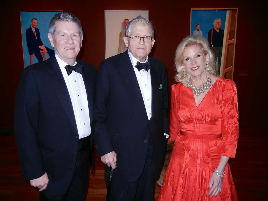Fine Arts Museums Deputy Director Richard Benefield (at left) with artist David Hockney and FAM Board President Dede Wilsey at the de Young Museum, Oct. 2013. Photo: Catherine Bigelow, Special To The Chronicle