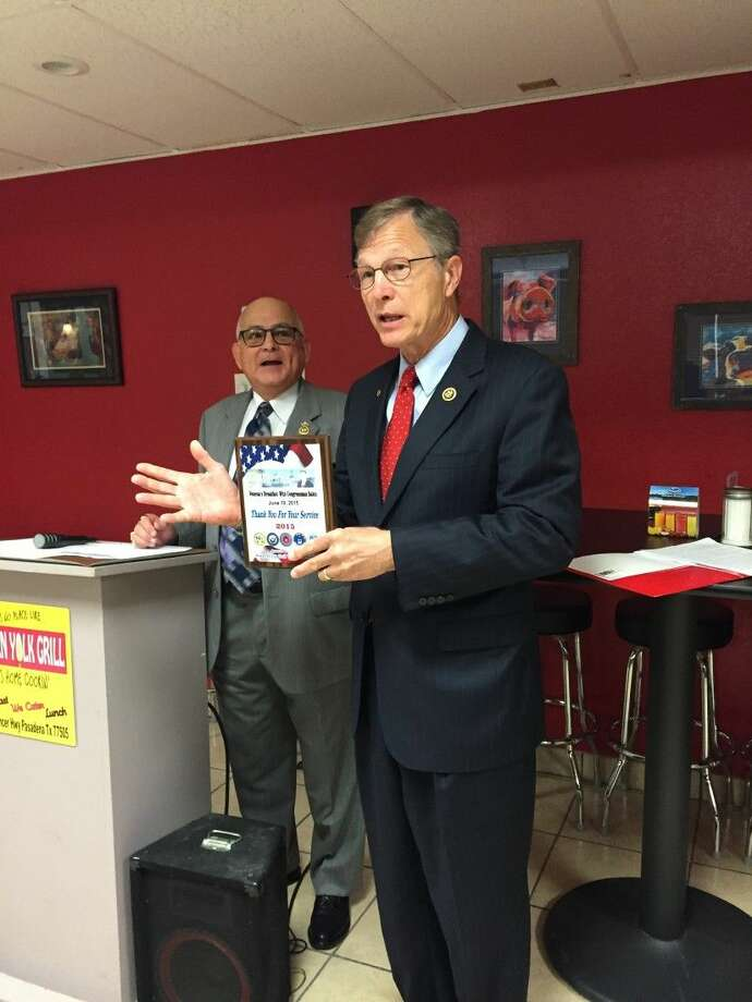 Rep. Brian Babin spoke on Friday at a veterans breakfast meeting in Pasadena, The congressman from Texas District 36 addressed issues relating to veteran administration facilities. Photo: Y.C. Orozco