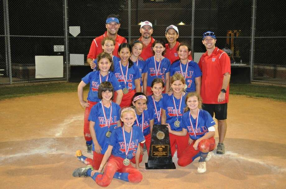 The West University Softball Association (WUSA) 10-and-under Wave tournament team recently won the Texas ASA State tournament in Sugarland. Lily Pesikoff, Kelsey Koenig, Naya Rhemtulla, Emma Poirot, Caroline Steely, Jane Culwell (Second row) Tali Kalmans, Vivian Montoya, Natalie Ou, Natalie Montoya, Ella Smith, Annie McConn (Back row) Manager Michael McConn, Coaches Matthew Smith, Richard Ou and Joshua Pesikoff (Not pictured, Coach Rachel Steely)