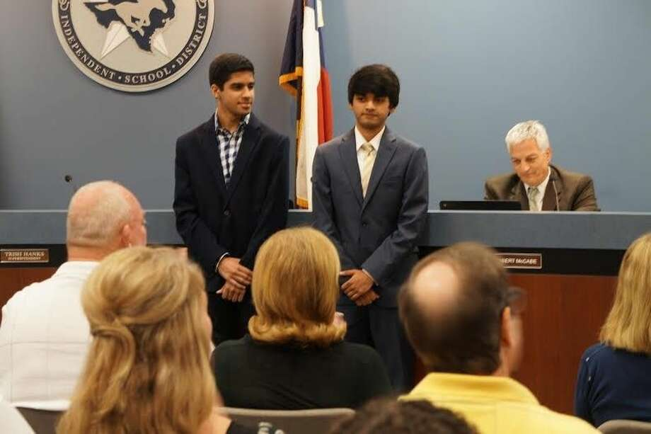 Karan Jerath & Aditya Mohile (graduated seniors from Class of 2015) were honored with Celebration of Excellence awards at the June 8 meeting of the Friendswood ISD School Board.