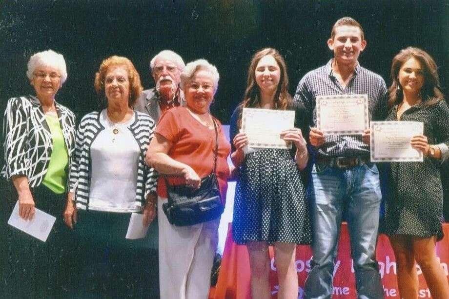 From left, Patsy Spitzmiller, Joyce Boyles, John and Emma McDonald, Kelsey Fuchs, Hunter Hearn and Sydney Stewardson at the 2015 scholarship presentation.