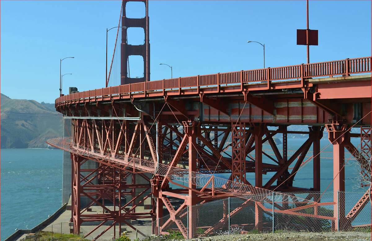 Photo illustration of proposed steel mesh suicide barrier for the Golden Gate Bridge. The bids have come in well over the bridge district's original estimate.