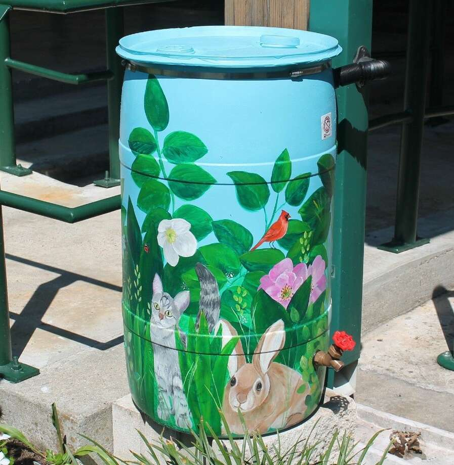 Rain Barrel Workshop participants can learn how to install a home rain barrel similar to this one in Stevenson Park.