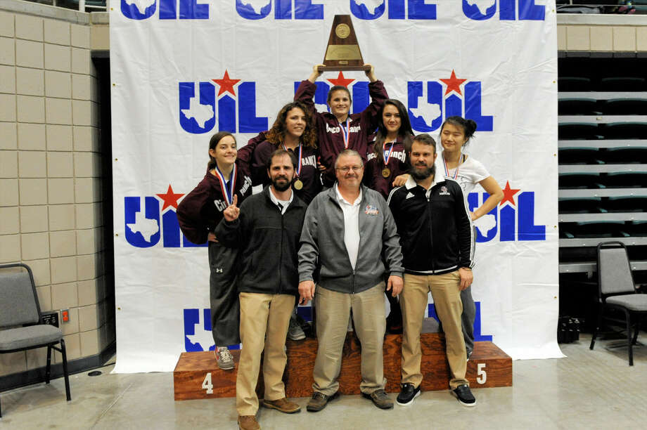 Cinco Ranch won the girls team championship at the Region III-6A tournament Feb. 13 at the Merrell Center in Katy. The Lady Cougars accounted for three regional championships as Ellie Monk, Charlotte Fowler, Kayla De Leon, Queena Chen and Taylor Rosario all placed. Photo: Craig Moseley
