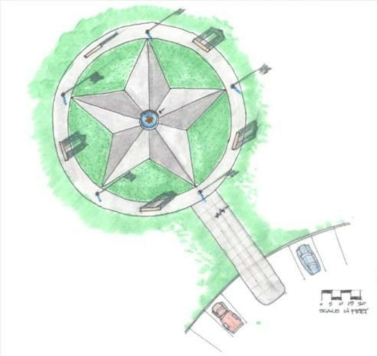 Missouri City resident Lloyd Lentz's winning design for a Veterans Memorial structure, to be built in one of the city's parks.