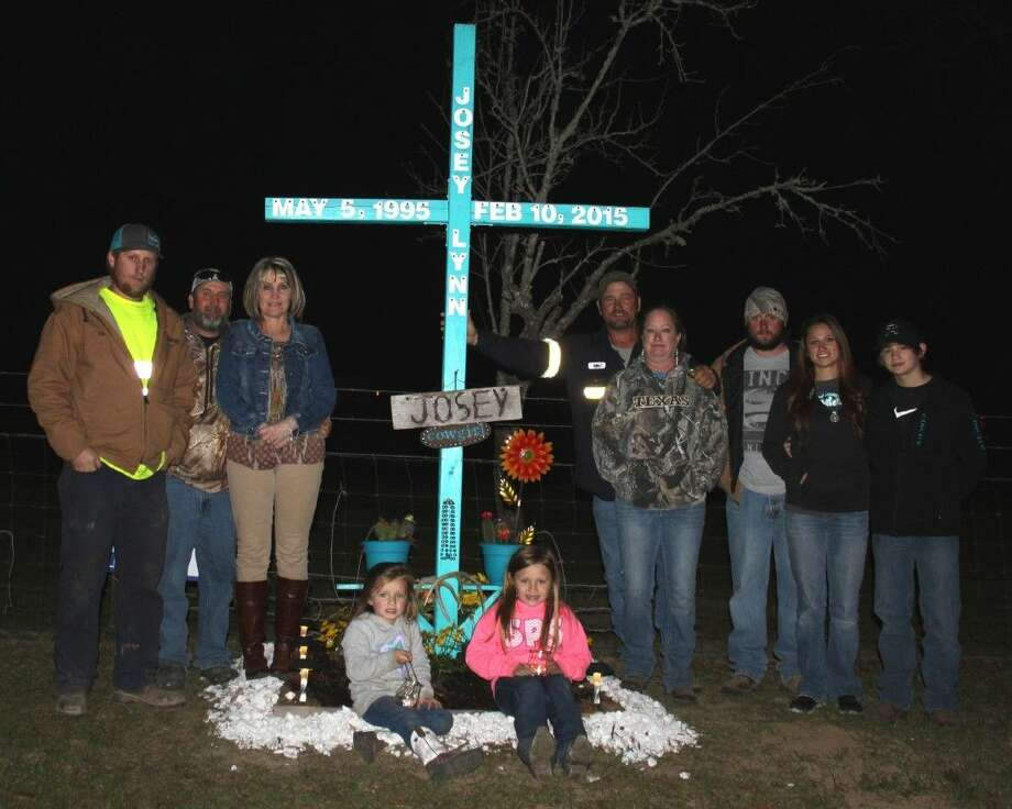 "Josey Scott's family and friends have preserved her memory since her passing one year ago with the ""Justice for Josey"" campaign for hit-and-run awareness. Left to right: Klint McShan, Kevin McShan, Kim McShan, Raegen Berger, Hayden Berger, Bill Scott, Amanda Scott, Jason Richards, Lacey Scott and Conway Benton. Photo: Jacob McAdams"