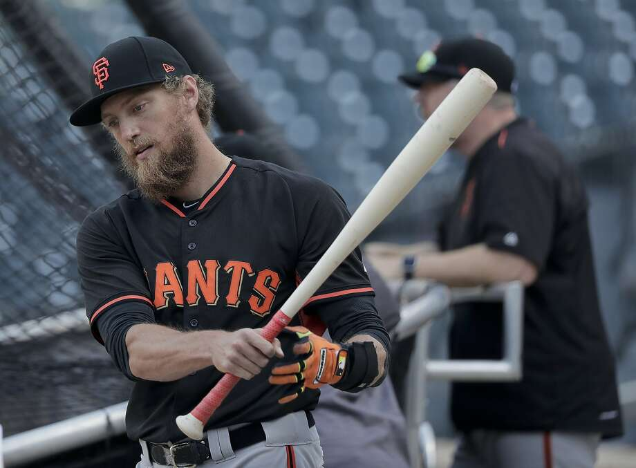 San Francisco Giants right fielder Hunter Pence prepares to take batting practice during a workout for the National League wildcard baseball game against the New York Mets, Tuesday, Oct. 4, 2016, in New York. (AP Photo/Julie Jacobson) Photo: Julie Jacobson, Associated Press