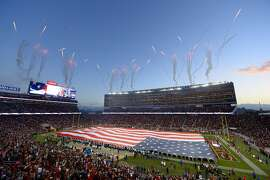 Fireworks explode in the air during the playing of the national anthem before the San Francisco 49ers and Los Angeles Rams game on Monday, Sept. 12, 2016 at Levi's Stadium in Santa Clara, Calif. (Jose Carlos Fajardo/Bay Area News Group/TNS)