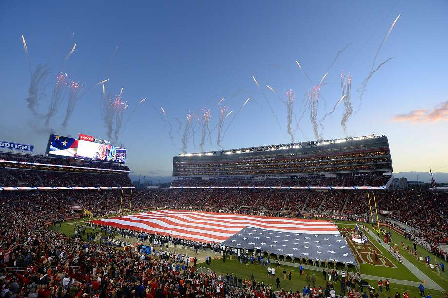 Fireworks explode in the air during the playing of the national anthem before the San Francisco 49ers and Los Angeles Rams game on Monday, Sept. 12, 2016 at Levi's Stadium in Santa Clara, Calif. (Jose Carlos Fajardo/Bay Area News Group/TNS) Photo: Jose Carlos Fajardo, TNS