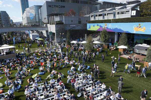 Howard Street between Third and Fourth streets at the Moscone Convention Center is closed to vehicle traffic for the Dreamforce conference hosted by Salesforce in San Francisco, Calif. on Tuesday, Oct. 4, 2016.