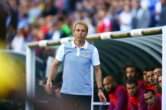 United States head coach Jurgen Klinsmann watches a play during the first half of the Copa America quarterfinals game between the United States and Ecuador at CenturyLink Field in Seattle on June 16, 2016. (Genna Martin, seattlepi.com)