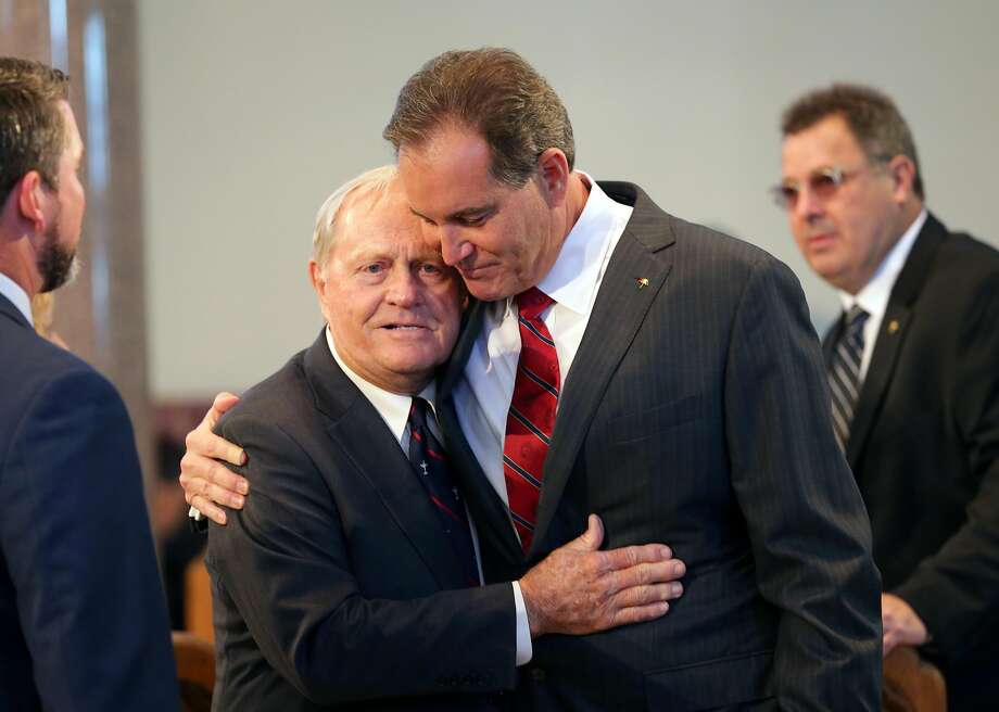 LATROBE, PA - OCTOBER 4: Sportscaster Jim Nantz (R) shares a hug with Jack Nicklaus during a Celebration of Arnold Palmer at Saint Vincent College on October 4, 2016 in Latrobe, Pennsylvania. Palmer, a golf legend who won 62 PGA tour titles over the course of his career, died on September 25, 2016 at age 87. (Photo by Hunter Martin/Getty Images) Photo: Hunter Martin, Getty Images