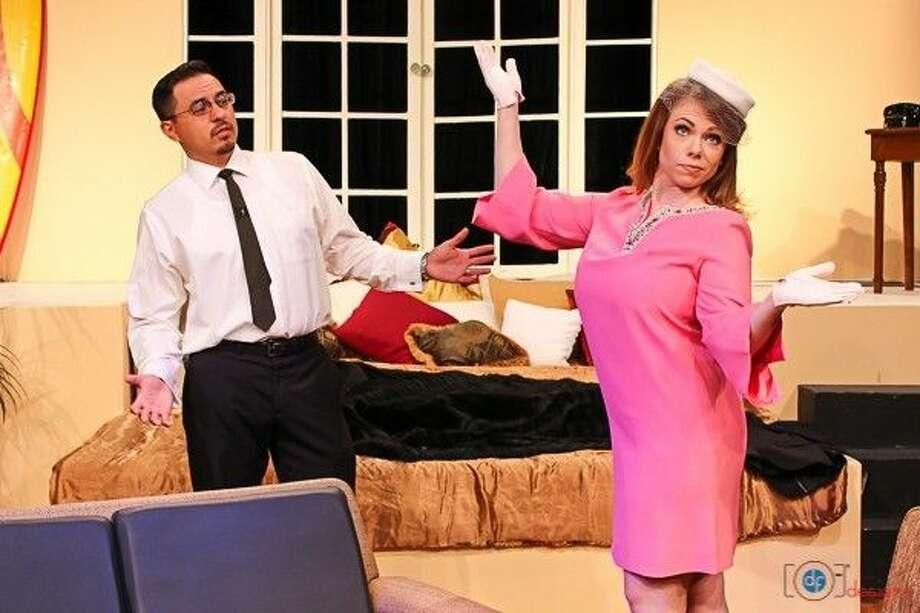 Ralph Garza as George and Haley Hernandez as Charlie in Pasadena Little Theatr's presentation of Goodbye Charlie by George Axlerod.