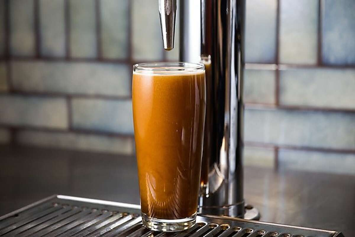 Closeup of nitro coffee from Mazarine Coffee