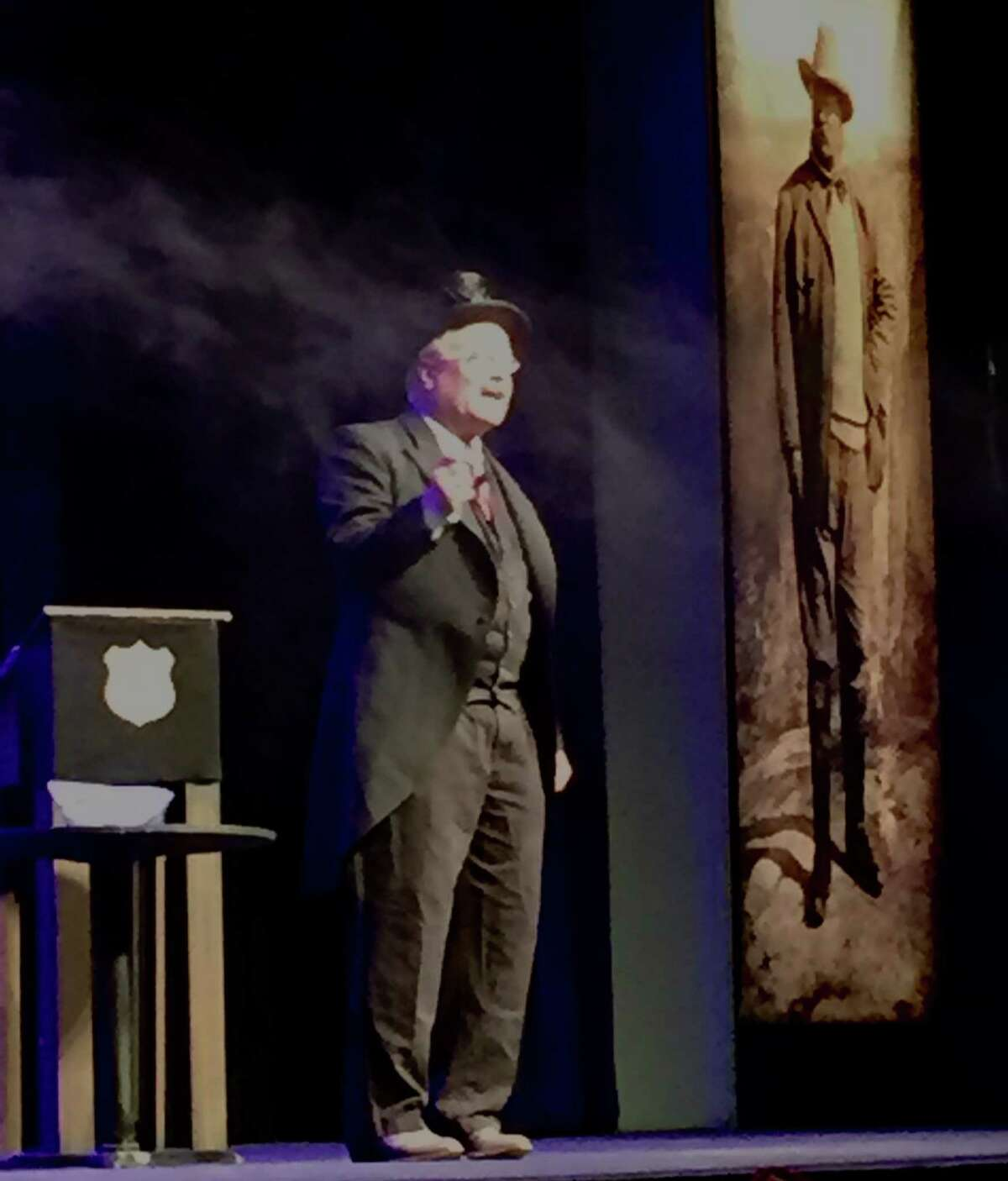 Clay Jenkinson portrays Theodore Roosevelt on stage at Dickinson State University during the 11th annual Theodore Roosevelt Symposium in Dickinson, ND last Saturday (Paul Grondahl / Times Union)