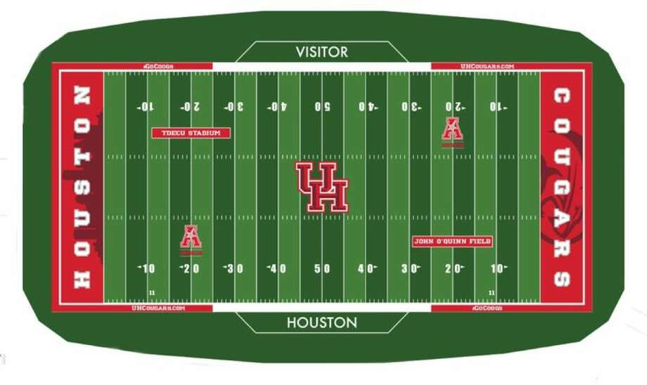 The first roll of turf for John O'Quinn Field was rolled out July 16, and fans can follow the construction progress of TDECU Stadium with the stadium's live webcam.