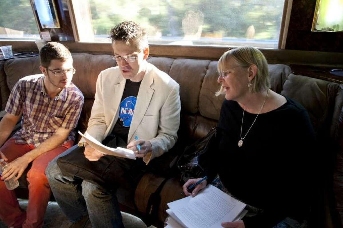 Stuart Hardwick attends a workshop after winning a prestigious writing contest.