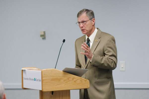 U.S. Congressman Brian Babin speaks during a Town Hall meeting at University of Houston Clear Lake Tuesday, May 26.