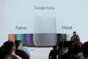 Rishi Chandra, Google group product manager, talks about Google Home during a  product event, Tuesday, Oct. 4, 2016, in San Francisco. Home, Google's new smart speaker, will be able to use voice to control Netflix and other video on Google's Chromecast streaming device. (AP Photo/Eric Risberg) ORG XMIT: CAER113