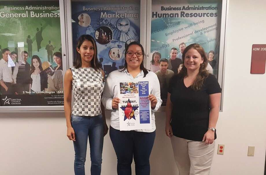 LSC-Kingwood project management students pose with a poster for their upcoming AFPM Petrochemical Information Fair. (From left to right: Lupita Sanchez, Natalie Ordonez and Trista Ramos.)