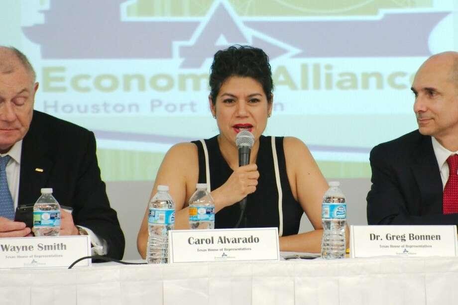 Texas Representative Carol Alvarado summarizes her activities during the past legislative session at the Economic Alliance Houston Port Region Board of Directors meeting and legislative wrap-up Wednesday, June 24.