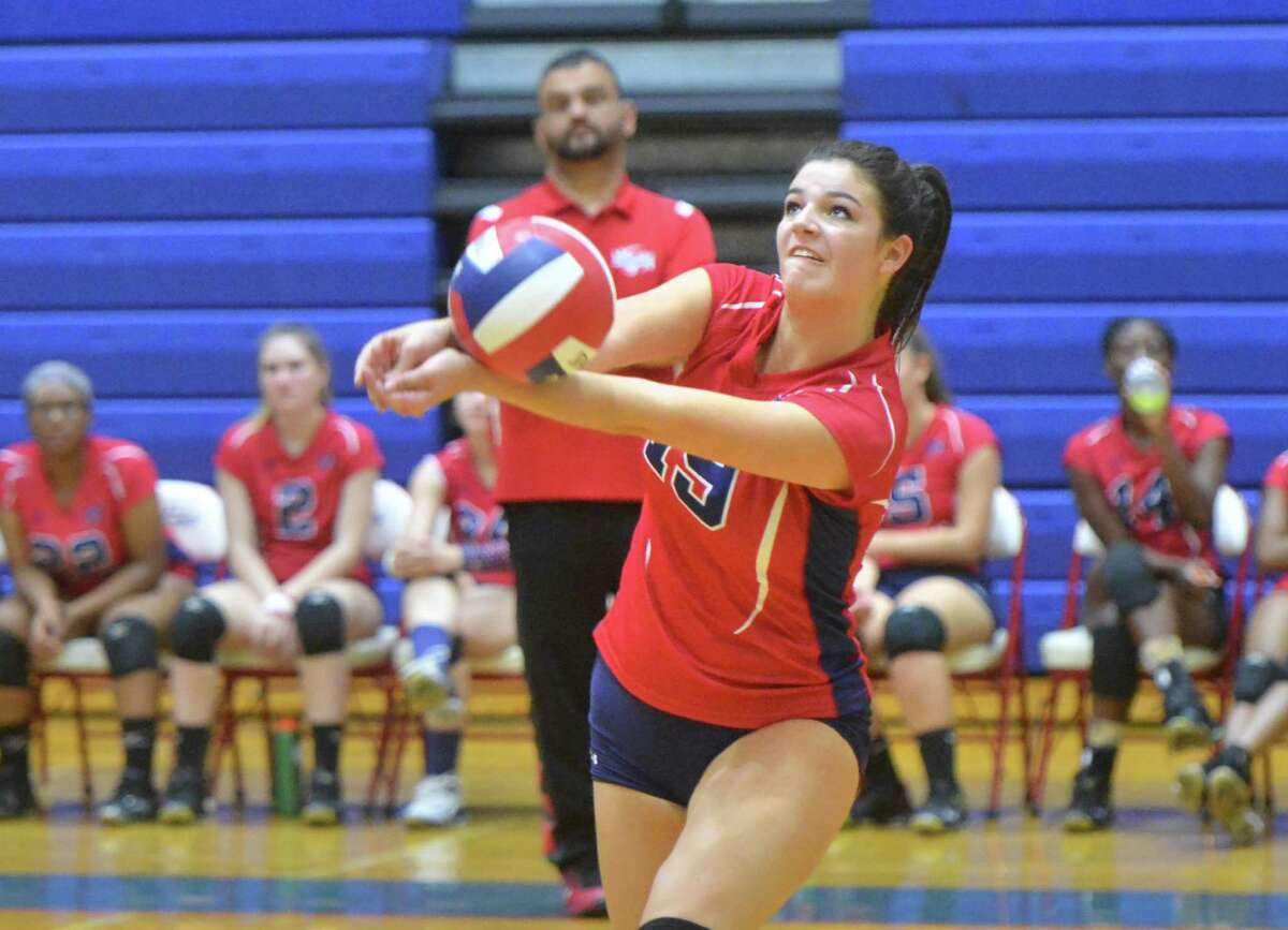 Brien McMahon High School's #19 Meredith Pellegrino gets her hands on the ball vs Weston High School on Tuesday October 4, 2016 in Norwalk Conn.