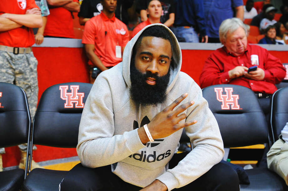 Rockets star James Harden was in attendance for the Cougars' regular-season finale. He and Kelvin Sampson, a Rockets assistant, have remained close over the years. Photo: Tony Gaines