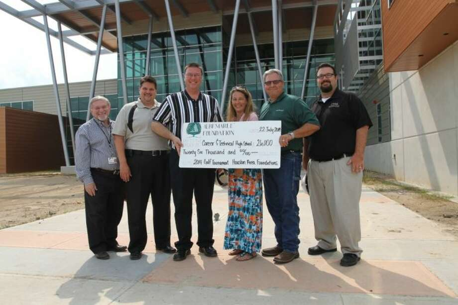 Pictured, (left to right) are Israel Grinberg, Pasadena ISD Facilities and Construction Project Manager; Derek Moody, CTHS Assistant Principal; Steve Fleming, CTHS Principal; Tonya Sandefer, Albemarle Foundation; Paul Chapman, Albemarle Foundation; Chad Phillips, CTHS Assistant Principal. Photo: Courtesy Pasadena ISD