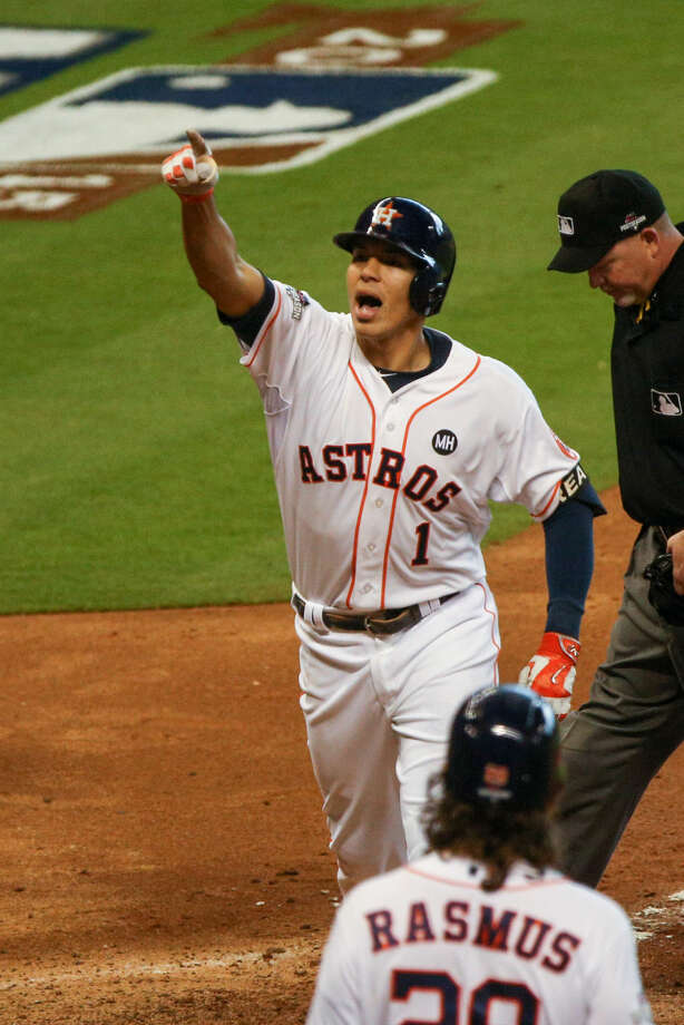 Houston Astros infielder Carlos Correa reacts after hitting a home run during the ALDS baseball game against the Kansas City Royals on Monday, Oct. 12, 2015, in Houston. Photo: Michael Minasi