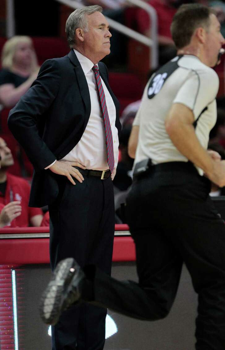 Houston Rockets head coach Mike D'Antoni watches the first half of game action against New York Knicks  at the Toyota Center on Tuesday, Oct. 4, 2016, in Houston.