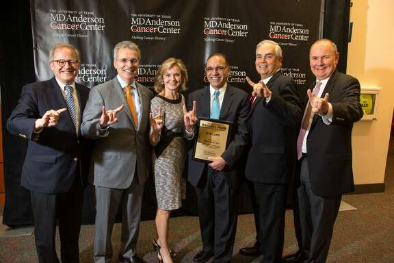 Ethan Dmitrovsky, M.D., Ronald DePinho, M.D., Beverly Randall, Ehab Hanna, M.D., Jack Randall and Thomas Buchholz, M.D. at UT MD Anderson Cancer Center on February 22 at the Third Annual President's Recognition for Faculty Excellence Awards Ceremony.