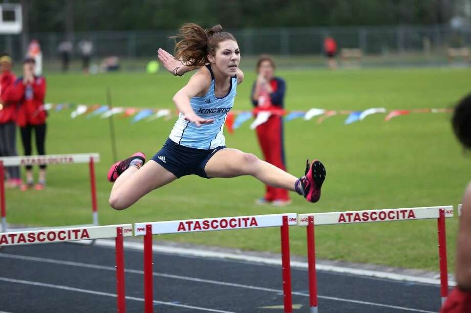 Mustang Mary Rudin competes in the 100 meter hurdles at the Atascocita Invitational.