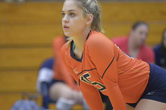 Brandeis senior Madison Denning watches play during a high school volleyball match against Clark on Oct. 4, 2016, in San Antonio.